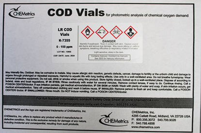 Picture of PK(150/pk) - COD-7355 - COD Vials, 0-150 ppm, 10 ppm MDL (COD7355)