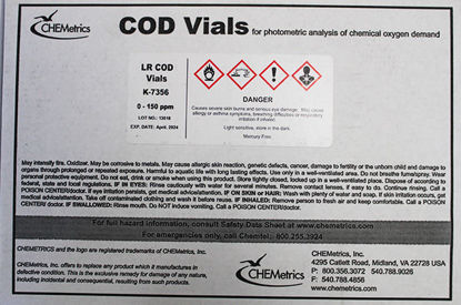 Picture of PK(150/pk) - COD-7356 - COD Vials, Mercury-Free, 0-150 ppm, 10 ppm MDL (COD7356)