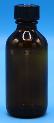 Picture of B-602 - 2 oz Amber Narrow-Mouth Glass Bottle w/ Polyseal Cap (B602)