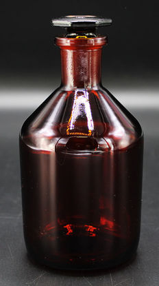 Picture of BW-12A - 100 cc Amber Narrow-Mouth Reagent Bottle w/ Ground-Glass Stopper (BW12A)