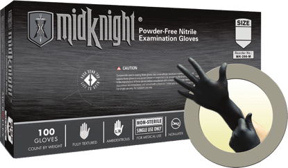 Picture of GD-296-M - MidKnight Black Powder-Free Nitrile Gloves, Size M (GD296M)
