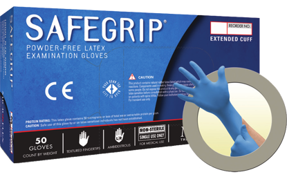 Picture of GD-375-M - SAFEGRIP Powder-Free Extended Cuff Disposable Latex Gloves, Size M (GD375M)