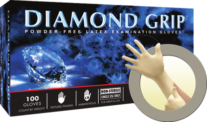 Picture of MF-300-L - Diamond Grip Powder-Free Disposable Latex Gloves, Size L (MF300L)