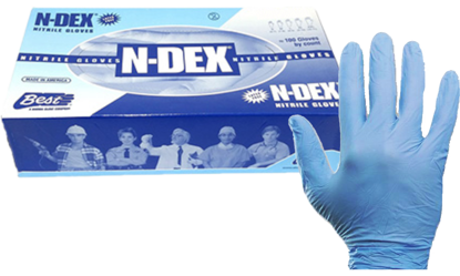 Picture of GD-7005-L - Blue Powdered Disposable Nitrile Gloves, Size L (GD7005L)